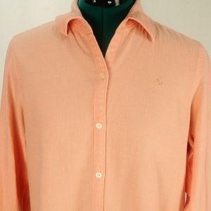 LRL Ralph Lauren Womens Peach Button Down Top